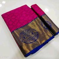 Fancy cotton silk Saree with blouse pic