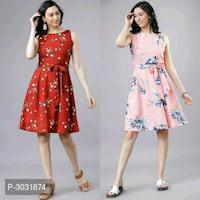 Women's Digital Printed Crepe Dresses Combo Of 2
