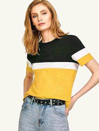 Women's black white mustard color block hosiery tee*