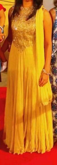 Full cream color net dress