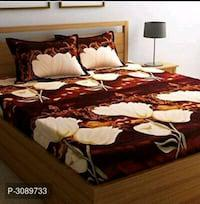 Multicolored Poly Cotton 1 Double Bedsheet With 2