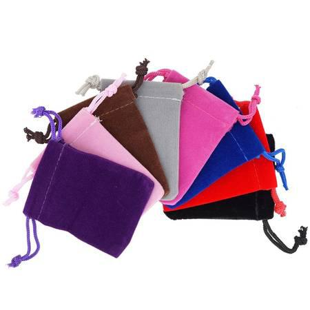 Pack of 8 Mix Color Soft Velvet Pouches w Drawstrings for