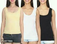 Women's Solid Cotton Blend Camisoles Combo Of 3 Size: S M L