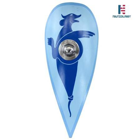 NAUTICALMART Norman Kite Shield with Shield Boss - Blue