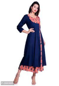 Women's Blue Rayon Anarkali Kurti