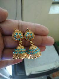 beautiful golden jhumkas set