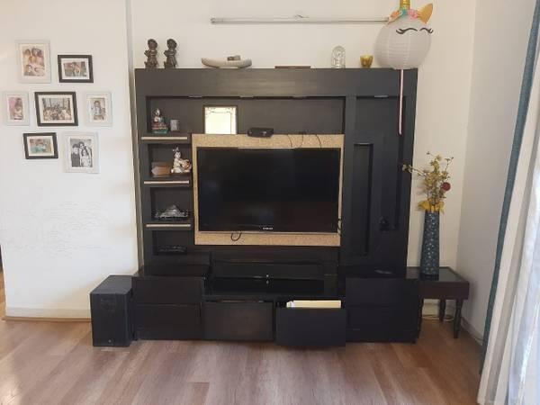 Dark brown and golden wooden tv cabinet and showcase -