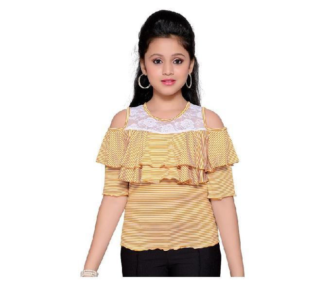 Girls cols shoulder stripe top