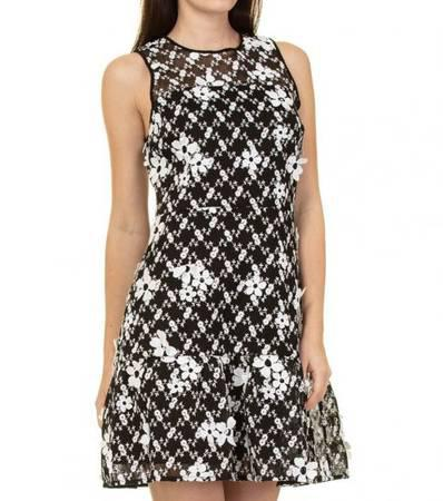 Michael kors black white floral embroidered mesh dress -