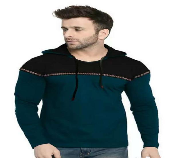 Men's purple self pattern cotton blend hooded tees