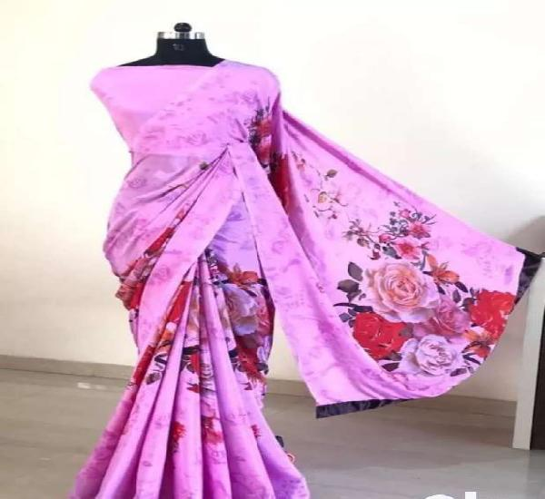 Stylish silk crepe women's saree
