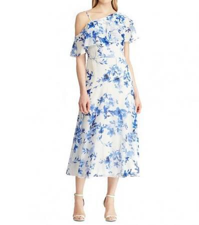 RALPH LAUREN White Floral-Print Georgette Dress - clothing &