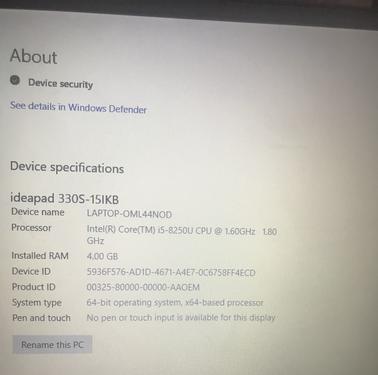 Lenovo ideapad 330s 156 laptop intel core i58250u quadc