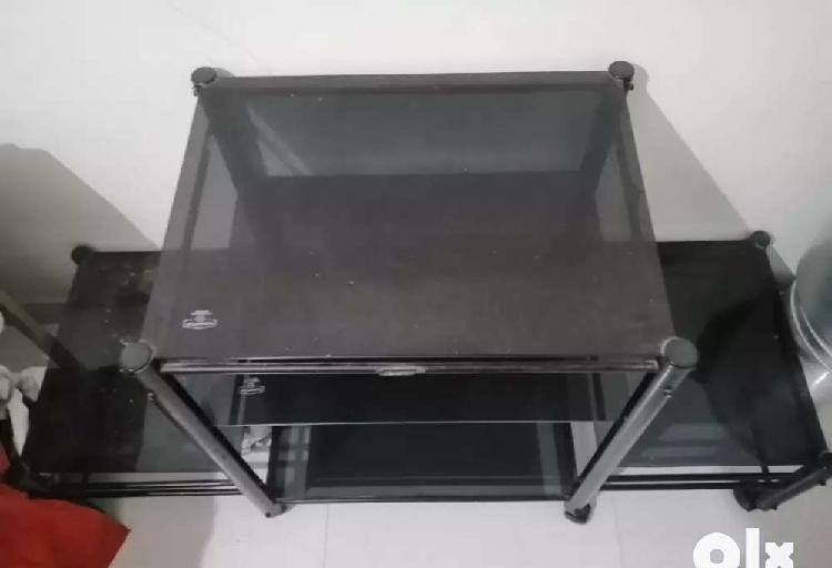 Tv unit of glass with two side stand