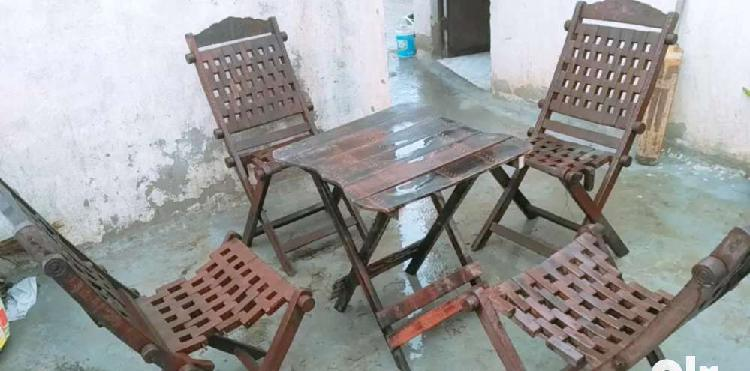 Table chair wooden foldable