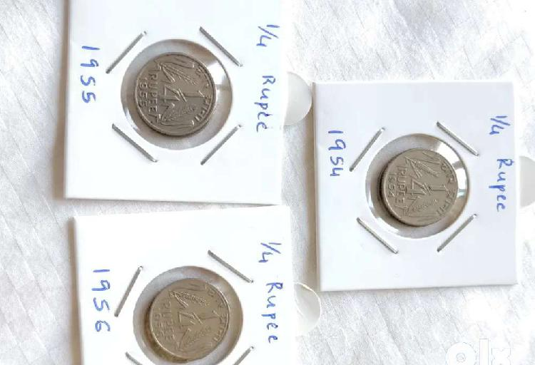1/4th rupee, 1954,55,56, set of all 3 for 200