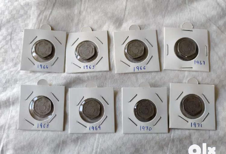 3 paise, set from 1964 to 1971, 8 coins for 700