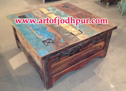 Indian furniture reclaimed wood trunk box