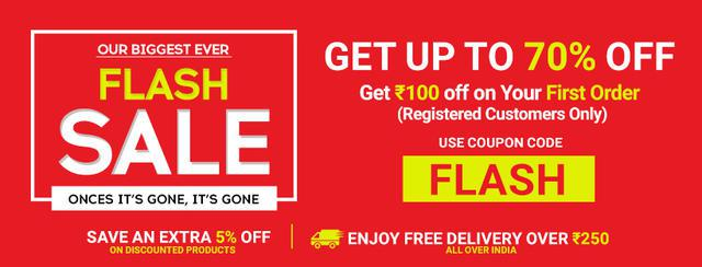 Up to 70 percent flat 5 percent off flash sale online