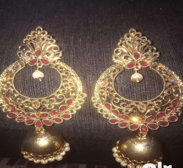 New jhumki earings golden and red combination