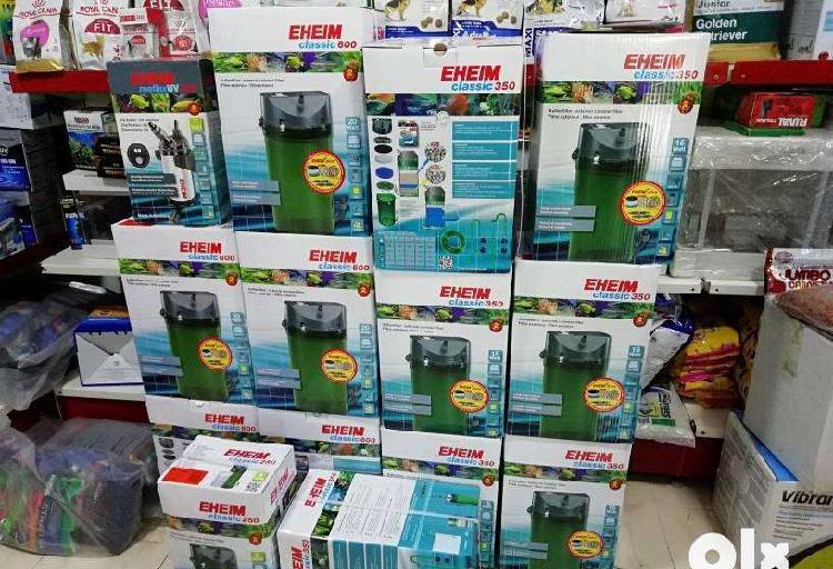 Eheim aquarium filter, air pumps, heaters, food