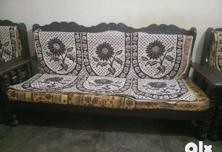 Wooden sofa set with cushion and cover