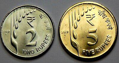 2019 # 2 rs & 5 rs. new latest series 1-1 each unc coins