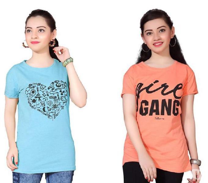 Girls round neck printed t-shirt pack of 2