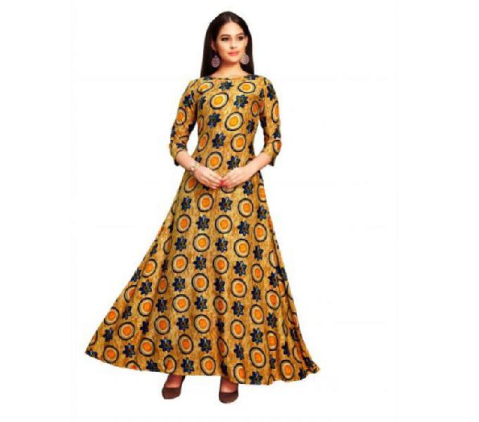 Women's rayon gold printed kurti