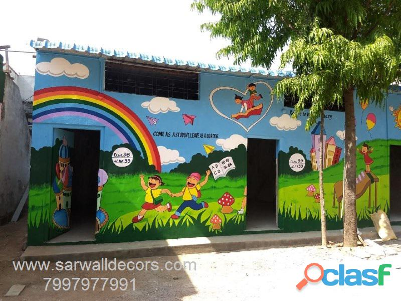3d cartoon wall painting in hyderabad