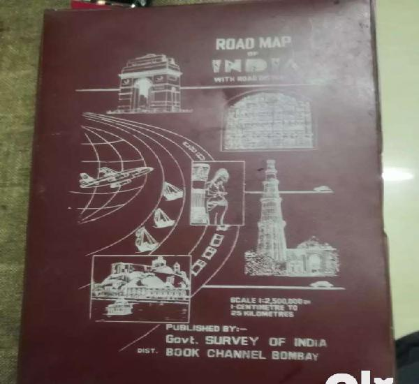Vintage road map of india 60s in very go