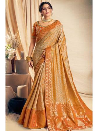 Orange color jacquard saree - computer services