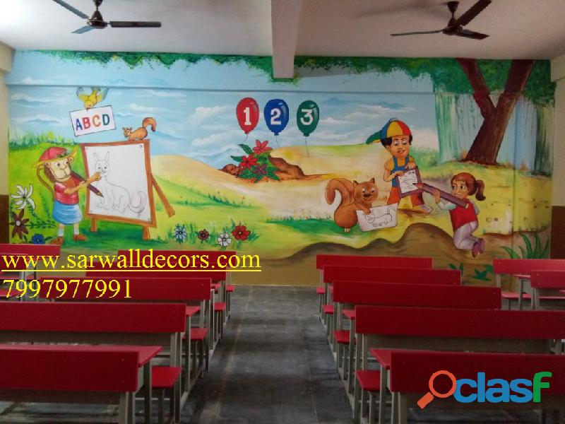 Play school cartoon 3d wall painting in hyderabad