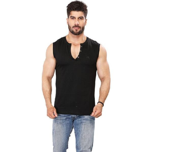 Black majik men's solid henley t-shirt