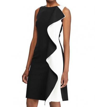 Ralph lauren blackwhite color block ruffle-trim dress -