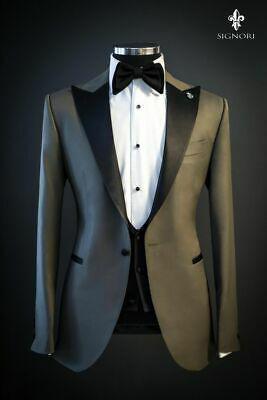 Men designer wedding dinner party tailor made gray tuxedo