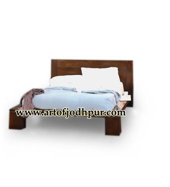 Flat mango wood king size double bed