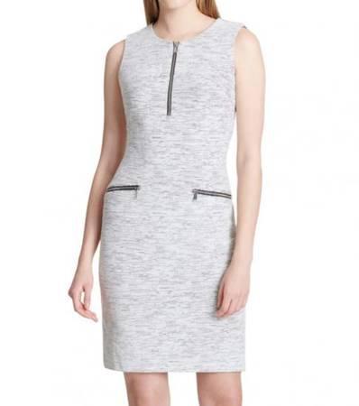 Calvin klein grey jacquard sheath dress - clothing &