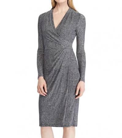 RALPH LAUREN Grey Jersey Long-Sleeve Dress - clothing &