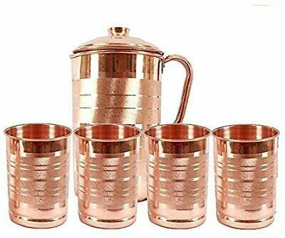 Copper jug pitcher with 4 glass tumbler (set of 5) health