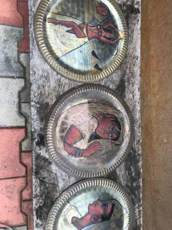 Egyptian hand painted bras plates. - antiques - by owner
