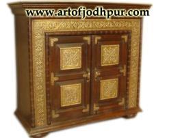 Jodhpur handicrafts brass fitted wooden cabinet