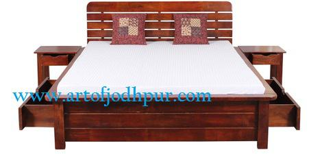 Furniture online box double bed solid woods sheesham