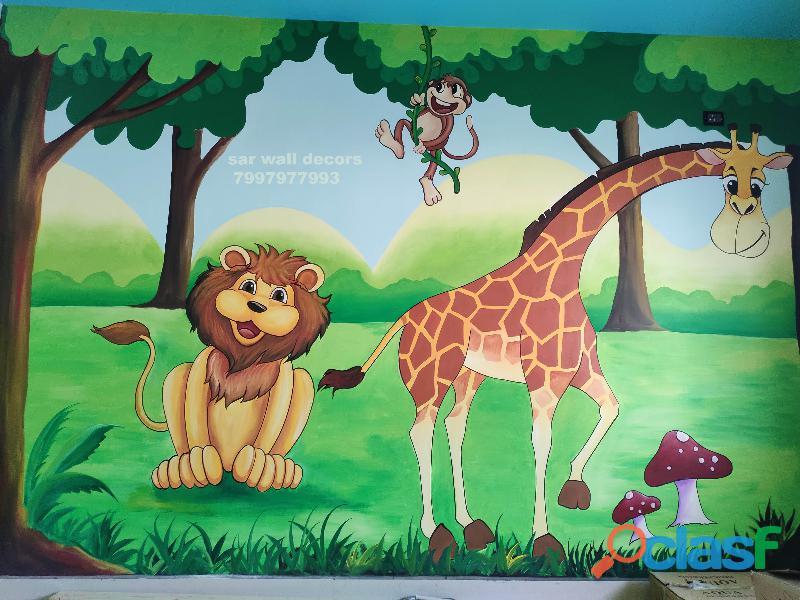 Nursery classroom wall painting ideas in warangal