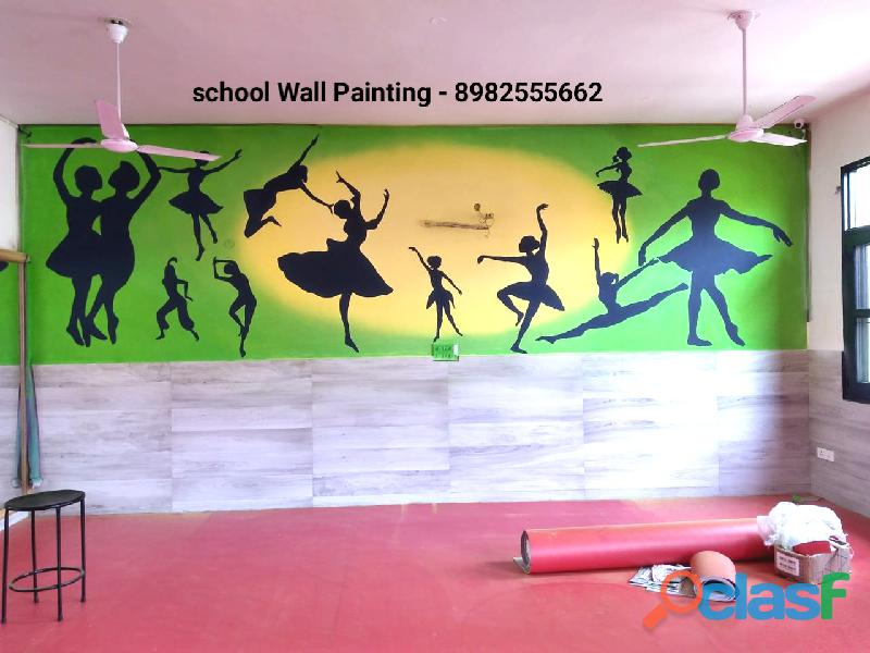 School wall painting in vadodara, school cartoon art in vadodara