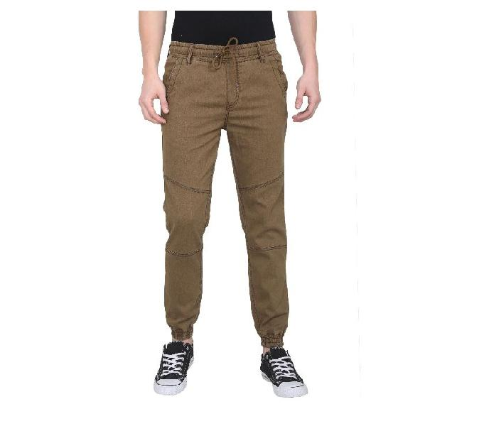 Rice puller khaki regular fit solid pants for men