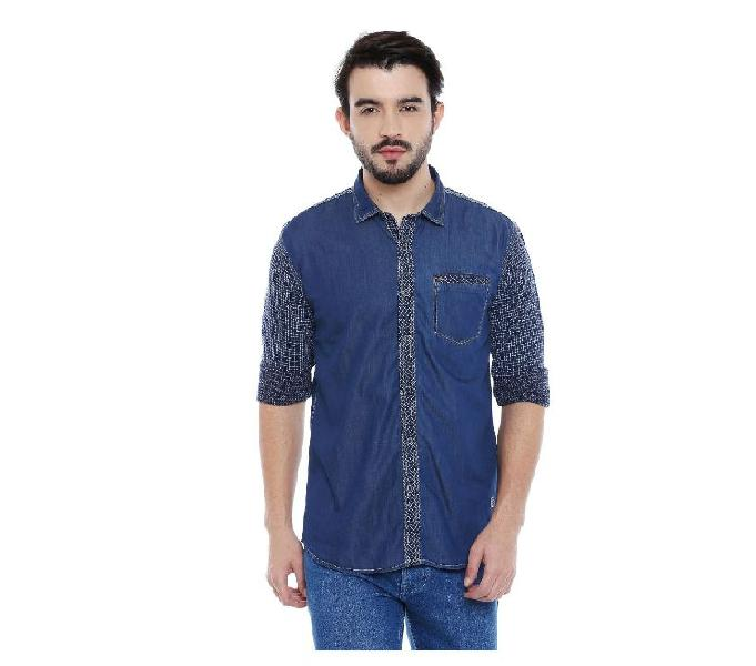 L.a. seven blue solid full sleeves slimfit cotton casual shi