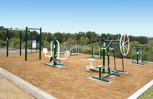 Strength training at garden with outdoor equipment