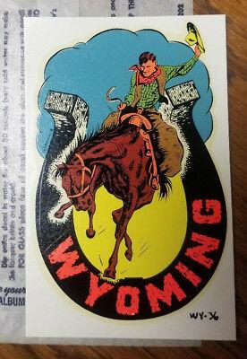 Vintage travel decal wyoming cowboy horse horseshoe rv