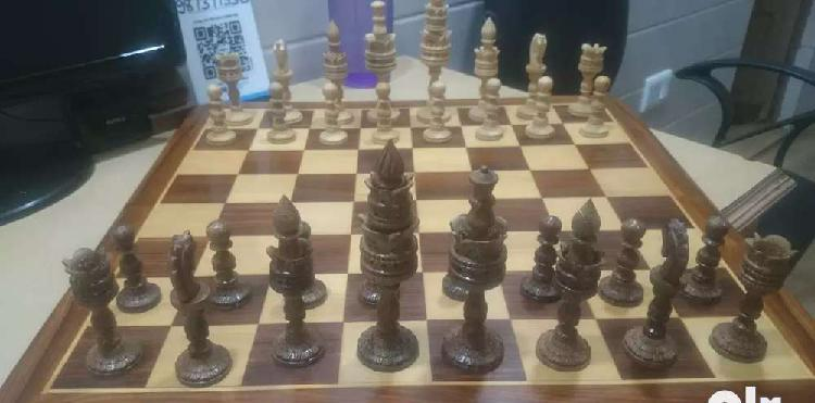 Hand crafted antique chess with board